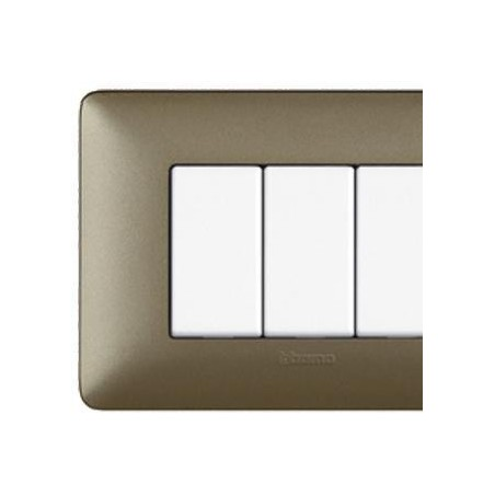 Placca Bticino Matix 4 Posti Titanium Metallics AM4804MTA
