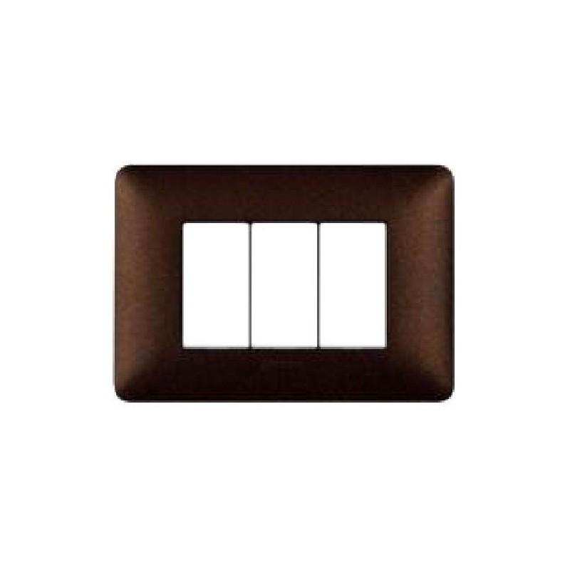 Placca Caffè Marrone - 3 Moduli - Matix Textures