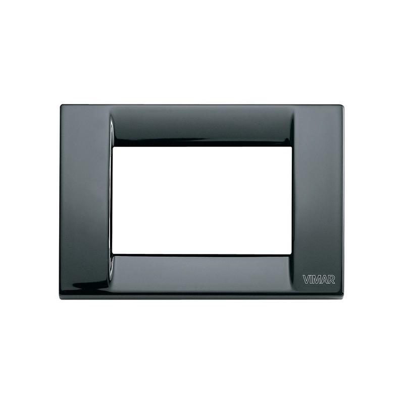 Placca nera in metallo 3 moduli