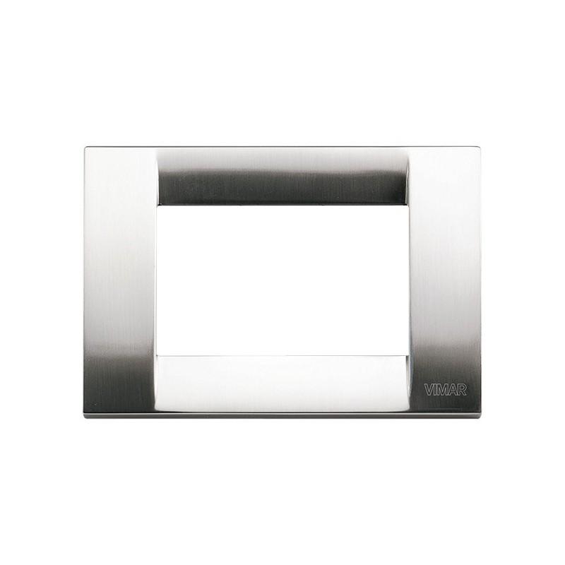 Placca 3 moduli nichel spazzolato