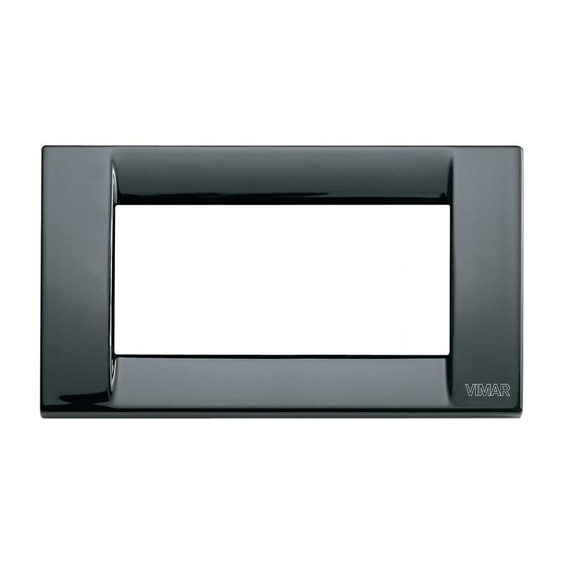 Placca nera 4 moduli in metallo