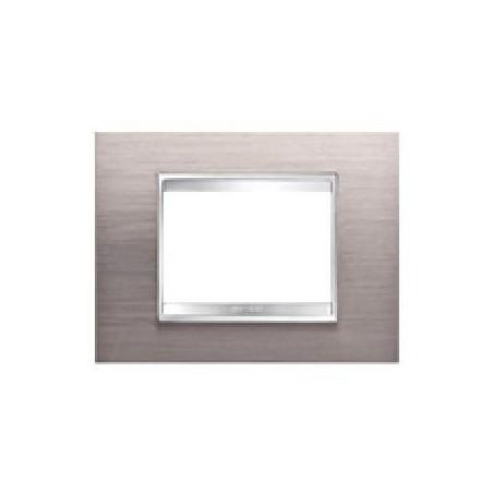 Placca Alluminio Spazzolato - 3 Posti - Metallo
