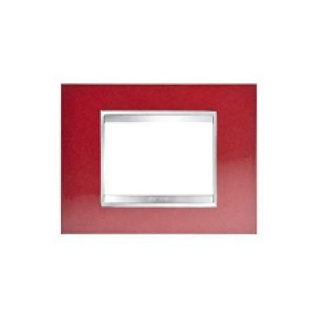 Placca Rosso Glamour - 3 Posti - Metallo