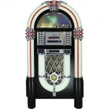 SD Bluetooth/® USB Fonction de Charge de la Batterie Argent/é AUX Silva Schneider Jukebox 55 Radio de Table UKW