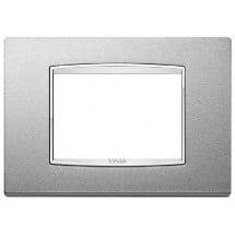 Placca Argento Matt - 3 Posti - Metallo - Eikon Chrome