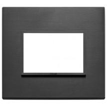 Placca Eikon Evo - 3 Posti - Alluminio Nero Totale