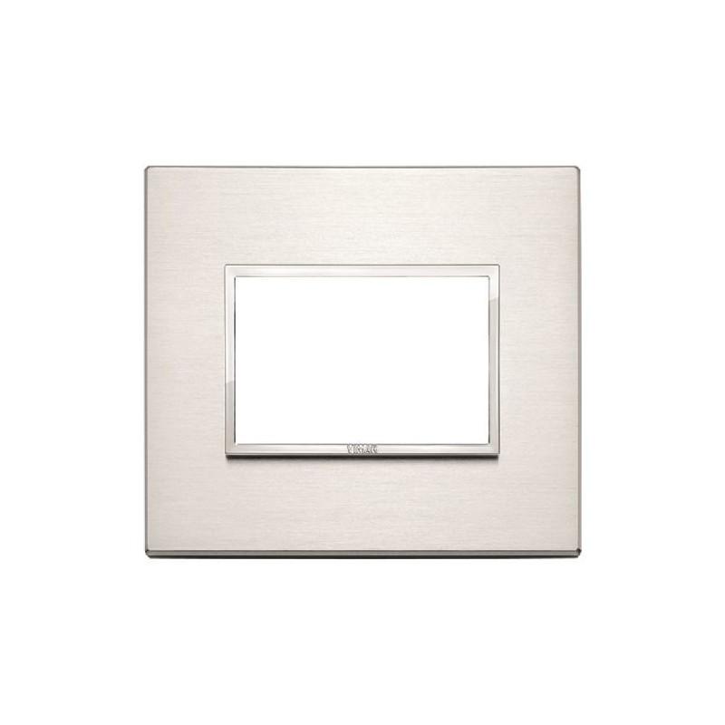 Placca Alluminio Brillante - 3 Posti - Vimar Eikon Evo