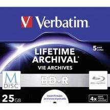 M-DISC Blu-ray vergine 25 GB Verbatim 43823 5 pz. Jewel case stampabile