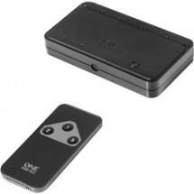 One For All SV 1630 3 Porte Switch HDMI Predisposto alla riproduzione 3D, Display a LED , Con telecomando 1080 Pixel