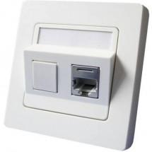 Inserto con piastra centrale e telaio Presa di rete Da incasso CAT 6 2 Porte Setec 604659 Bianco puro
