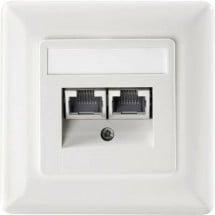 Inserto con piastra centrale e telaio Presa di rete Da incasso CAT 6 Setec 649290 Bianco puro
