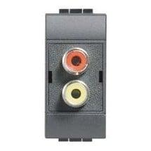 Connettore Rca - Modulo Doppio - LivingLight Antracite