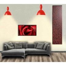 termoarredo elettrico per bagno e cucina, gres porcellanato sottile, verniciato rosso nero e bianco