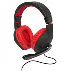 Cuffia Headset per Gaming Jack 3,5 mm Filo Konix DRAKKAR SKALD Cuffia Over Ear Nero, Rosso