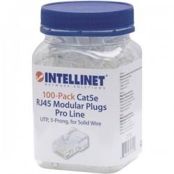 Intellinet confezione da 100 Cat5e connettore modulare RJ45 Pro line UTP 3 punti contatto cavo per cavo pieno 100 spina