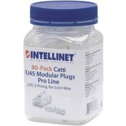 Intellinet 80pz. CAT6 RJ45 spina modulare Pro line UTP 3 punti contatto cavo per cavo pieno 80 spina nel bicchiere 50