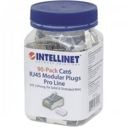 Intellinet 90pz. CAT6 RJ45 spina modulare Pro line STP 3 punti contatto cavo per cavetti e cavo pieno 90 spina nel