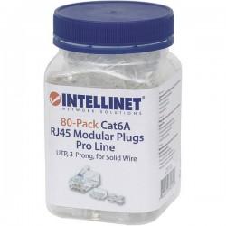 Intellinet 80pz. Cat6a connettore modulare RJ45 Pro line UTP 3 punti contatto cavo per cavo pieno 80 spina nel bicchiere