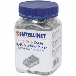 Intellinet confezione da 100 Cat5e connettore modulare RJ45 cavo STP 3 punti contatto per cavo pieno 100 spina nel