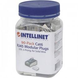 Intellinet 90pz. CAT6 RJ45 spina modulare STP 3 punti contatto cavo per cavo pieno 90 spina nel bicchiere Contatto a