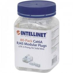 Intellinet 80pz. Cat6a connettore modulare RJ45 UTP 3 punti contatto cavo per cavo pieno 80 spina nel bicchiere Contatto
