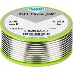 Felder Lötechnik ISO-Core VA Stagno per saldatura Bobina Sn96.5Ag3.5 0.250 kg 2 mm