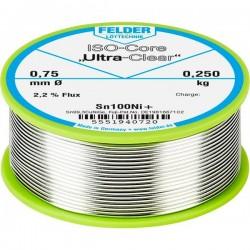 Felder Lötechnik ISO-Core Ultra-Clear Sn100Ni+ Stagno senza piombo Bobina Sn99.25Cu0.7Ni0.05 0.250 kg 0.75 mm