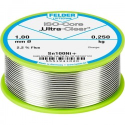 Felder Lötechnik ISO-Core Ultra-Clear Sn100Ni+ Stagno senza piombo Bobina Sn99.25Cu0.7Ni0.05 0.250 kg 1 mm
