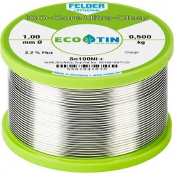 Felder Lötechnik ISO-Core Ultra-Clear Sn100Ni+ Stagno senza piombo Bobina Sn99.25Cu0.7Ni0.05 0.500 kg 1 mm