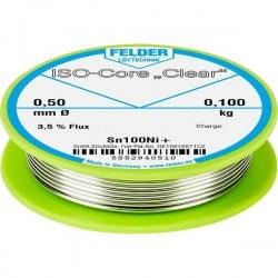 Felder Lötechnik ISO-Core Clear Sn100Ni+ Stagno per saldatura Bobina Sn99.25Cu0.7Ni0.05 0.100 kg 0.50 mm