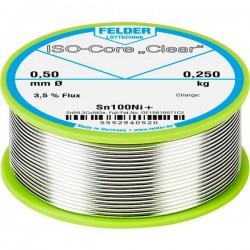 Felder Lötechnik ISO-Core Clear Sn100Ni+ Stagno per saldatura Bobina Sn99.25Cu0.7Ni0.05 0.250 kg 0.5 mm