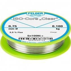 Felder Lötechnik ISO-Core Clear Sn100Ni+ Stagno per saldatura Bobina Sn99.25Cu0.7Ni0.05 0.100 kg 0.75 mm