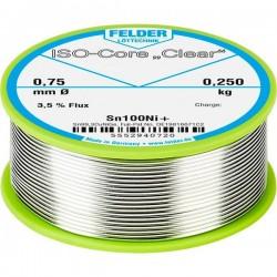 Felder Lötechnik ISO-Core Clear Sn100Ni+ Stagno per saldatura Bobina Sn99.25Cu0.7Ni0.05 0.250 kg 0.75 mm