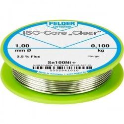 Felder Lötechnik ISO-Core Clear Sn100Ni+ Stagno per saldatura Bobina Sn99.25Cu0.7Ni0.05 0.100 kg 1 mm