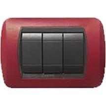 Placca in Metallo Rosso Intenso Compatibile Bticino International 3, 4, 7 Posti