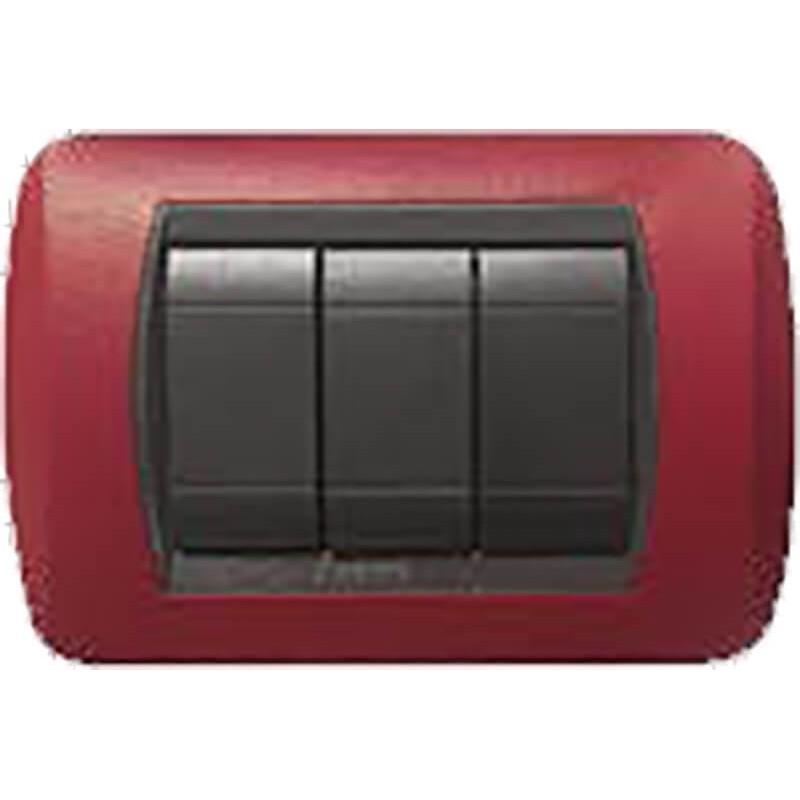 Placca Metallo Rosso Intenso Compatibile Bticino International 3, 4, 7 Posti