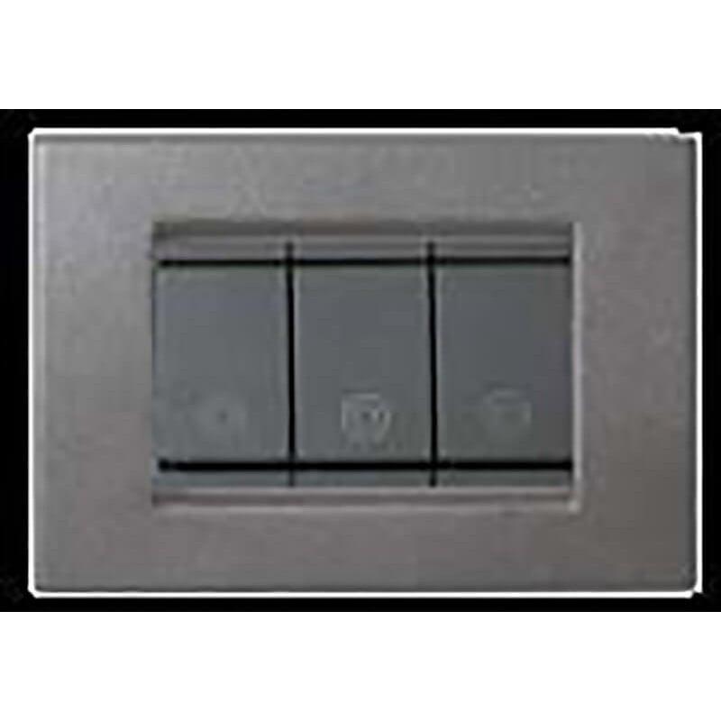 Placca in metallo grigio grafite 3 4 6 posti compatibile - Interruttori elettrici vimar ...