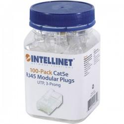 Intellinet confezione da 100 Cat5e connettore modulare RJ45 UTP cavo a 3 punti per cavo pieno contatto spina bicchiere