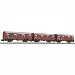 N Kit da 3 vagoni merci coperti Glmhs 50 della DB Liliput L260137 L260137
