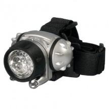 Lampada da testa con fascia elastica regolabile e corpo in ABS resistente agli urti, all'umidità ed alle intemperie.