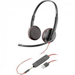 Plantronics Blackwire C3225 binaural Cuffie Jack 3,5 mm, USB Filo Cuffia On Ear Nero 209747-201