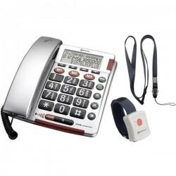 Amplicomms BIGTEL 50 Alarm Plus Telefono a filo per anziani Segnalazione ottica di chiamata, Vivavoce Display 906535