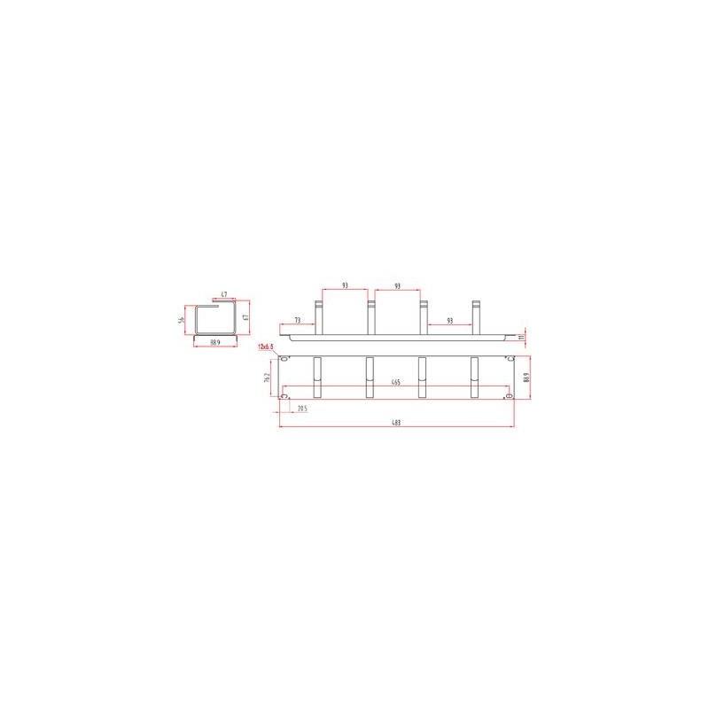 Renkforce RF-3440222 19 pollici Pannello passacavi per armadio rack 2 U Nero