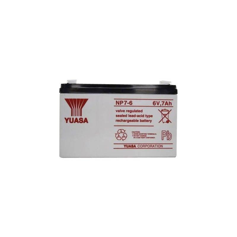 Yuasa NP7-6 YUANP7/6 Batteria al piombo 6 V 7 Ah Piombo-AGM (L x A x P) 151 x 97 x 34 mm Spina piatta 4,8 mm Esente da