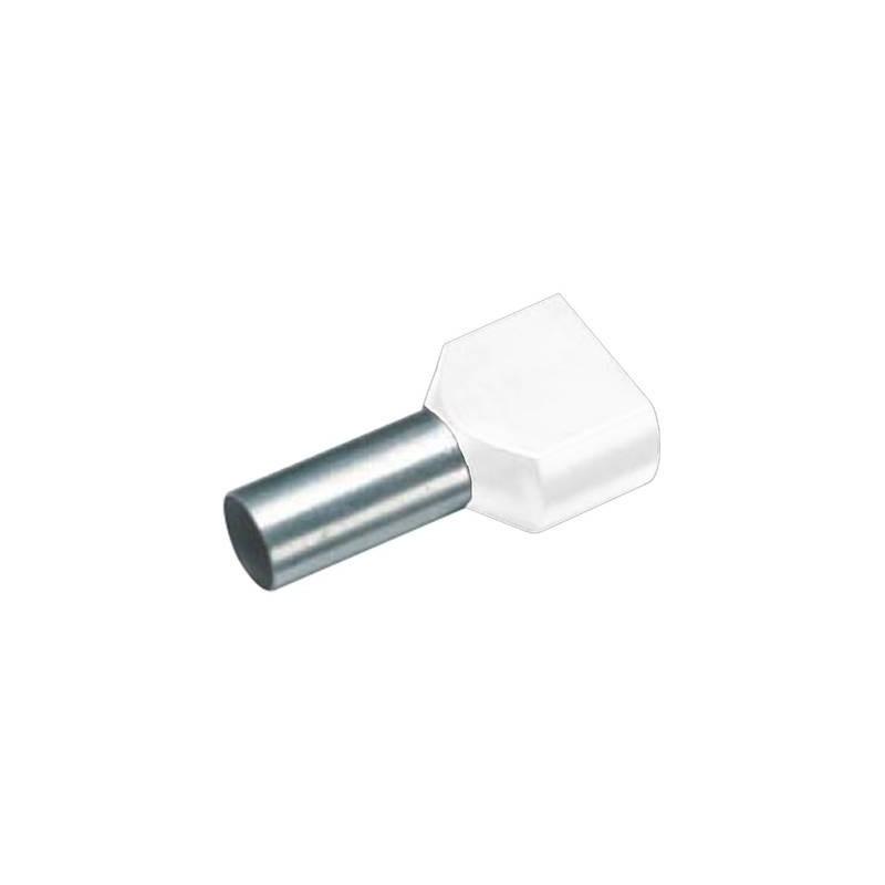 Vogt Verbindungstechnik 460208D Capocorda doppio 2 x 0.75 mm² x 8 mm Parzialmente isolato Bianco 100 pz.