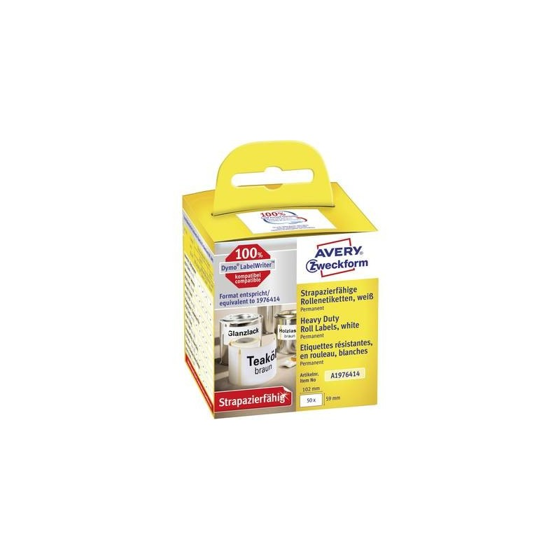 Avery-Zweckform A1976414 Rotolo di etichette 59 x 102 mm Pellicola Bianco 50 pz. Permanente Etichetta universale