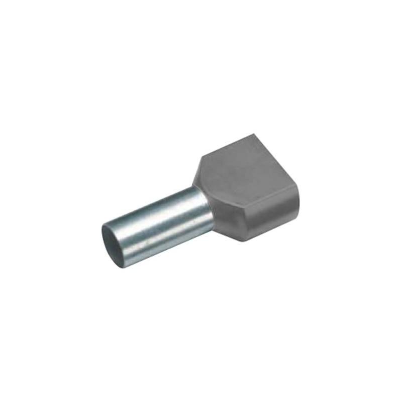 Vogt Verbindungstechnik 460612D Capocorda doppio 2 x 4 mm² x 12 mm Parzialmente isolato Grigio 100 pz.
