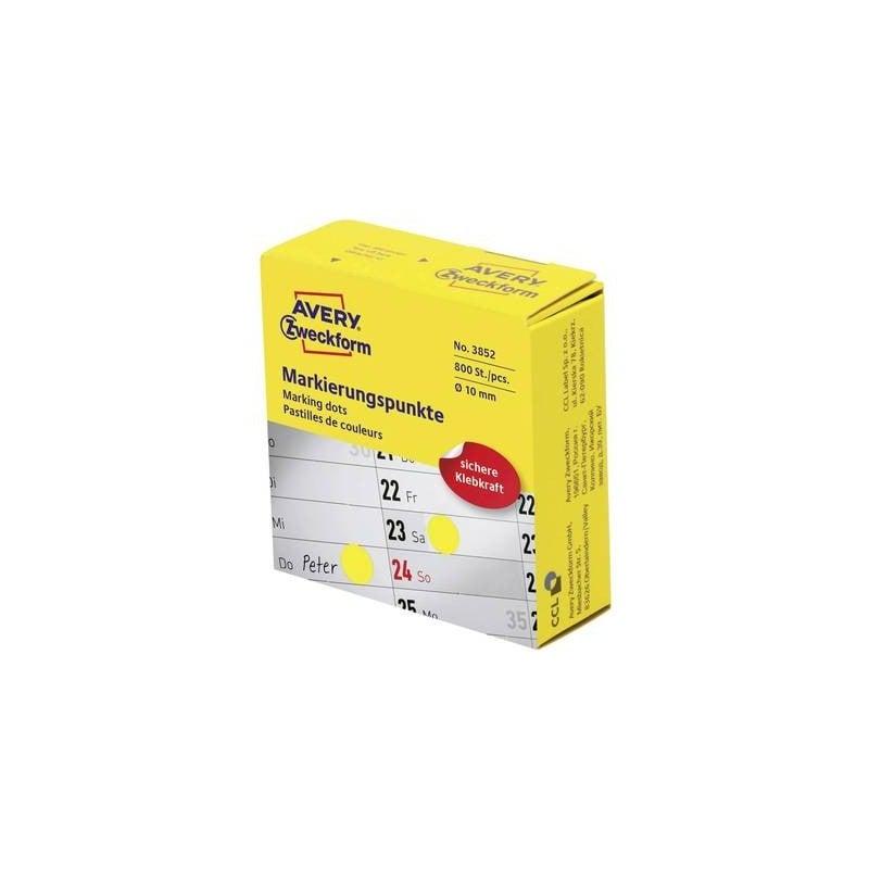 Avery-Zweckform 3852 Etichette Ø 10 mm Carta Giallo 800 pz. Permanente Etichetta di identificazione a forma di bollino