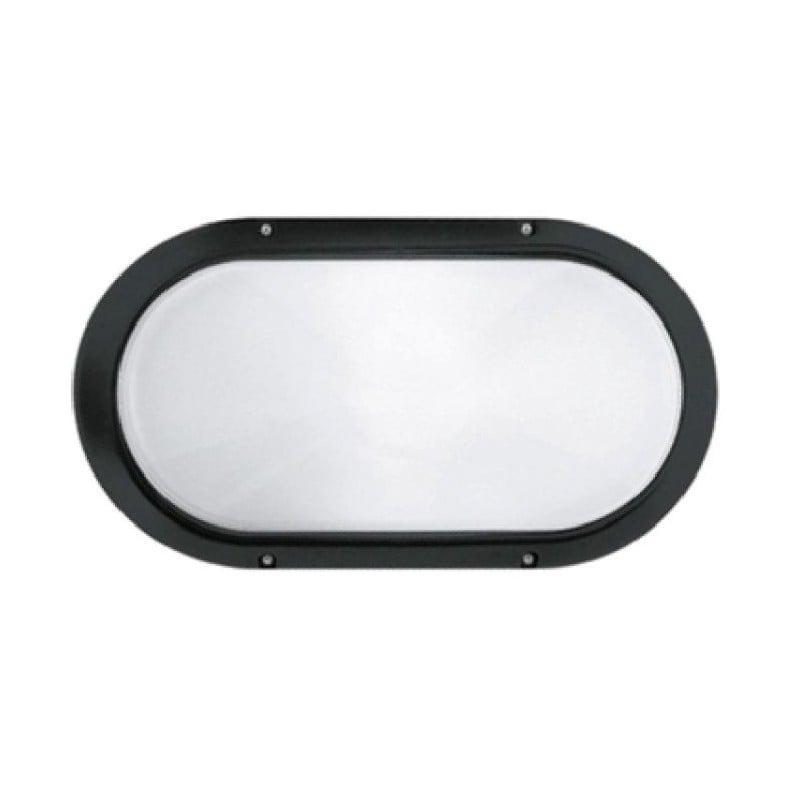 Plafoniera 001704 Prisma, colore nero, Superdelta Ovale, Collegamento portalampada E27, Basso Consumo 60W.