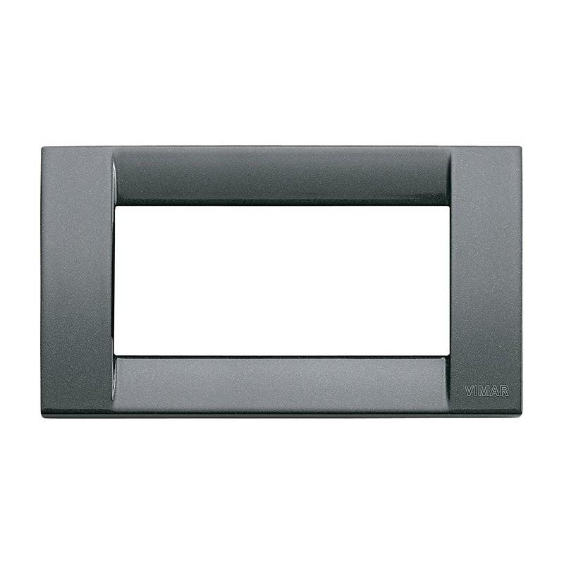 Placca Vimar Idea Classica, colore Antracite Metallizzato, 4 Posti o Moduli, Costruita in metallo pressofuso, codice 16734.23